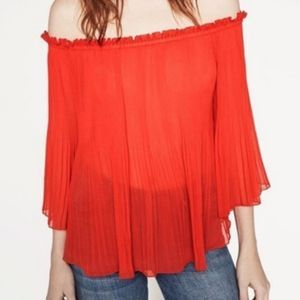 Zara Pleated Off the Shoulder Blouse Size XS